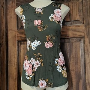 Maurices Green floral tank criss cross back